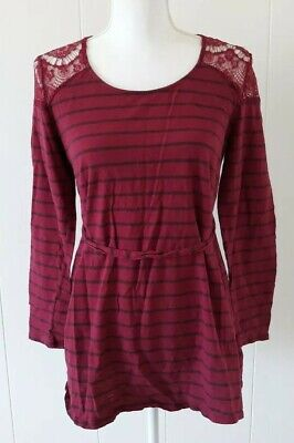 Two Hearts Maternity Top Large Dark Pink Striped Lace Shoulder Cotton