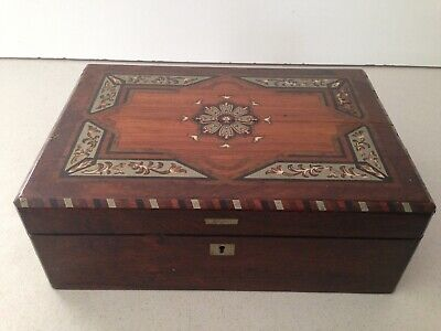 Antique Writing Travel Veneer Lap Desk with Inlaid Wood Patterns