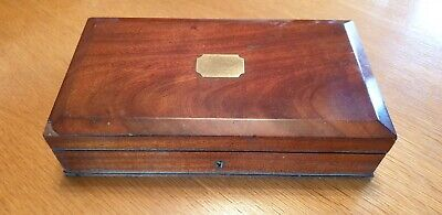 Antique flamed mahogany. glove/gun box. Nice quality with brass insert.
