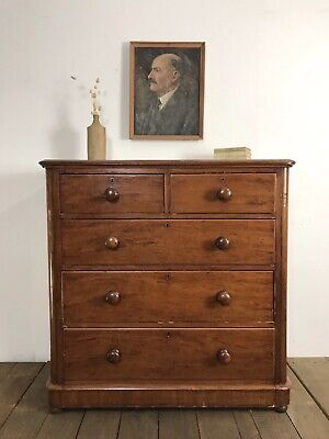 Victorian Antique Country Farmhouse Chest Of Drawers