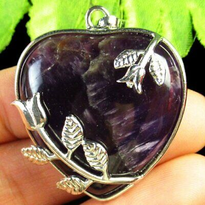 Carved Tibetan Silver Wrapped Natural Amethyst Flower Heart Pendant Bead D77334