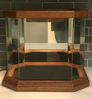 Polygon Wood Glass & Mirror  Lighted Table Top Display Case