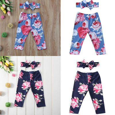Newborn Baby Kid Girls Floral Print Long Pants+Headband Suit Sets Kids Clothing