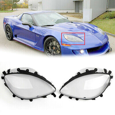 Pair Headlight Lens Replacement Covers & Black Gaskets Kit For 05-13 C6 Corvette