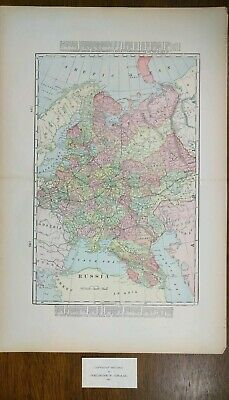 """1901 RUSSIA Vintage Atlas Map 14""""x22"""" Old Antique Original MOSCOW ST PETERSBURG"""