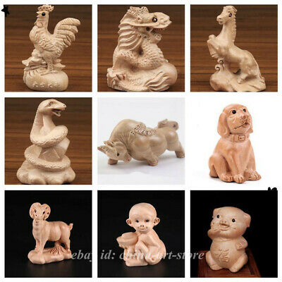 12PCS Set Chinese Peach Wood Carved Twelve Zodiac Year Animal Lucky Small Statue