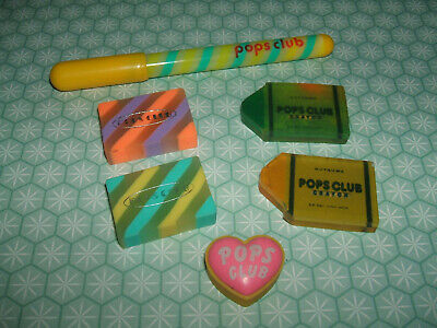 Rare Vintage 1980s Kutsuwa Pops Club Pen and erasers rubbers gommes gommine