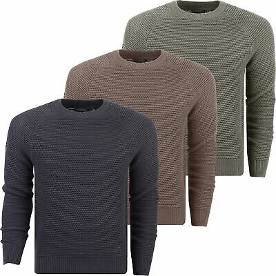 CROSSHATCH MENS JUMPER Knitted Crew Neck Peelback Contrast