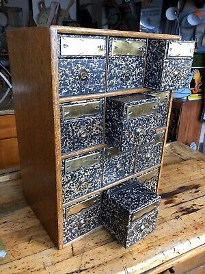 Antique globe wernicke 12 Drawer Quartersawn Oak File Cabinet, Apothecary