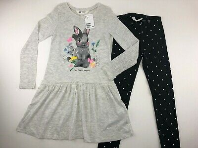 H&M Girls 2 Piece Outfit Dress With Leggings Bunny Grey Black Long Sleeve NEW