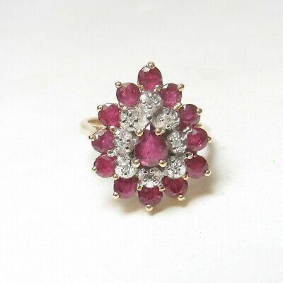 Estate 14K Yellow Gold Natural Pear, Round Red Ruby And Diamond Ring 2.50 Cts