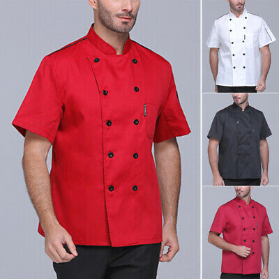 Male Casual Chef Kitchen Cook Coat Short Sleeve Tops Solid Buttons Vest Shirts1x