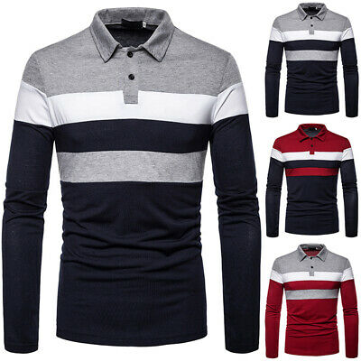 Mens Casual Slim Fit Shirts Long Sleeve T-shirt Lapel Collar Formal Office Tops