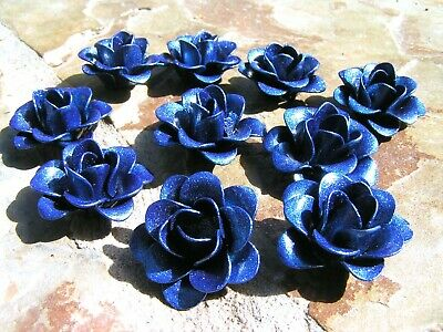 TEN Blue metal art roses, flowers for embellishments and accents