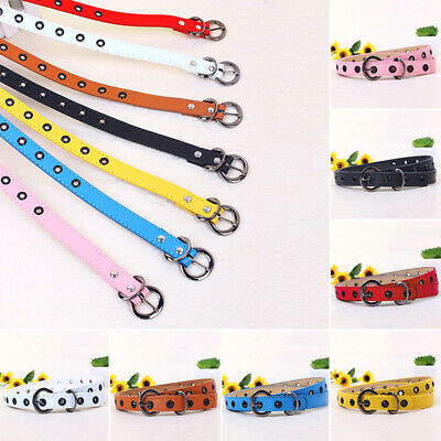Cute Cross Buckle Women Girl Candy Thin Skinny PU Leather Belt FOR Child Girl