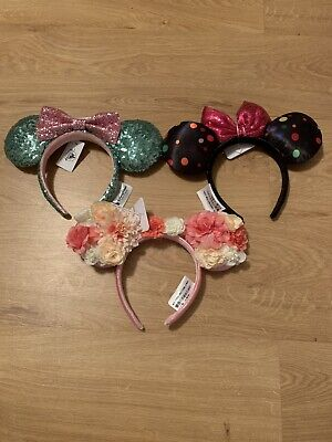 DISNEY PARKS 3 Minnie Mouse Sequin Multi-Color Ear Headbands NWT