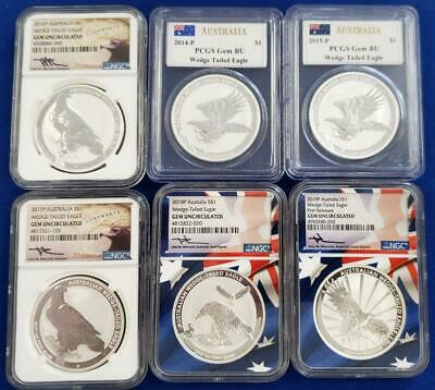 6-Australian 1 oz .999 Silver Wedge Tailed Eagles 2014-P to 2019-P   L5422