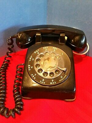 Vtg 1961 Black Bell System Western Electric Rotary Dial Phone CD 500 Desk