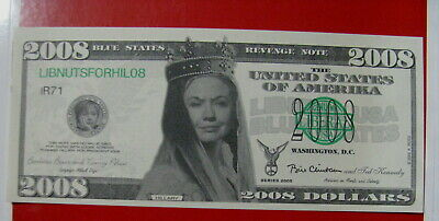 Queen Hillary Clinton Blue states Note 2008 IN LIBS WE TRUST Fake Play money $3