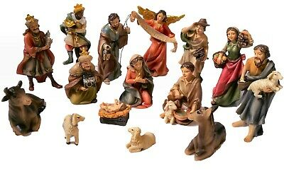 15-Piece Complete Nativity Set. Hand-Painted 4 in tall Christmas Scene figurines
