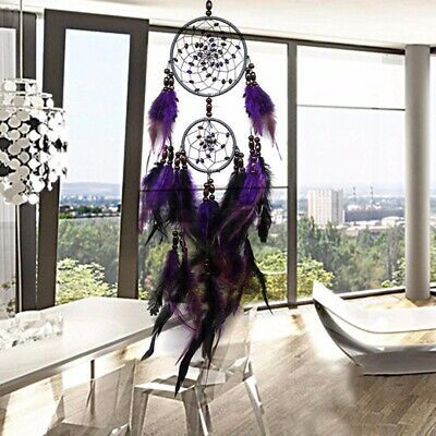 25'' Handmade Purple Dream Catcher Feather Wall Car Home Hanging Ornament US