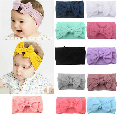 Girls Kids Baby Bow Hairband Headband Sweet Turban Knot Head Wrap UK STOCK