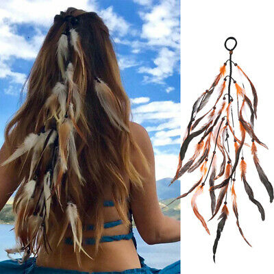 Boho Double Color Feather Hair Band Hair Rope Hair Tie Scrunchies Rubber Band