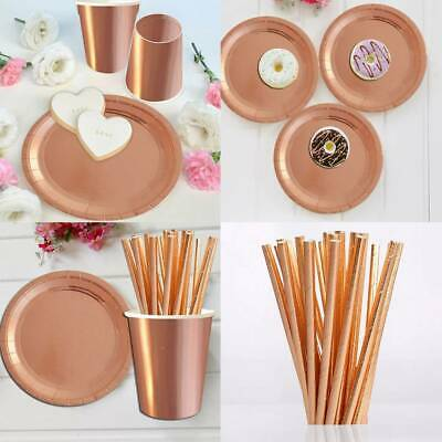 ROSE GOLD Paper Plates Cups Straws Decor Shiny Disposable Birthday Party Decor