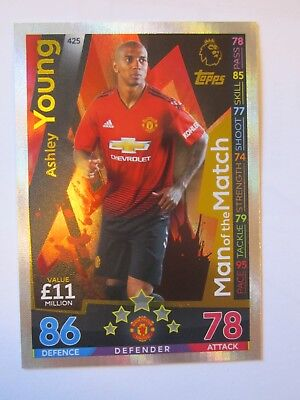 Match Attax 2018/9 MOTM card of Ashley Young of Manchester United #425
