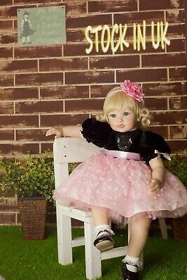 "Reborn Dolls Cute Girl Toddler Lifelike Xmas Gifts  23"" Soft Silicone Realistic"