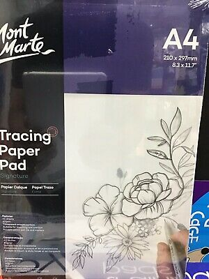 Mont Marte Tracing Paper Pad A4 40 Sheets 60gsm Sketching Overlays Transparent