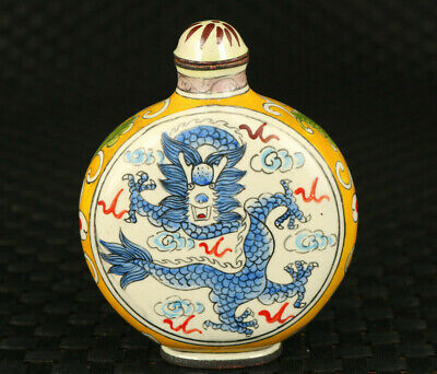 rare old cloisonne Hand painted dragon snuff bottle collectable noble gift deco