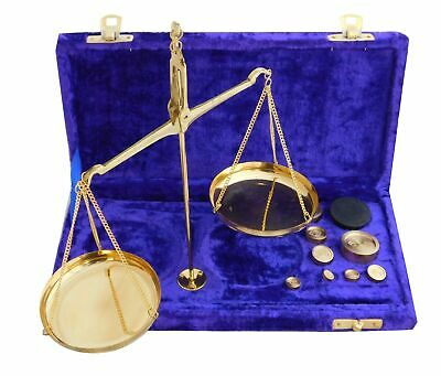 Antique Brass Polished Jewellery Balance Scale with Velvet Box & Complete Weight