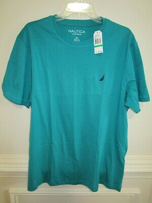 NWT NAUTICA Mens S/S Teal blue Pajama Shirt Crew Neck Cotton Blend Sleepwear L