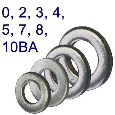 BA Stainless Steel Flat Washers - 0, 2, 3, 4, 5, 7, 8 & 10BA Washers - Pack 25