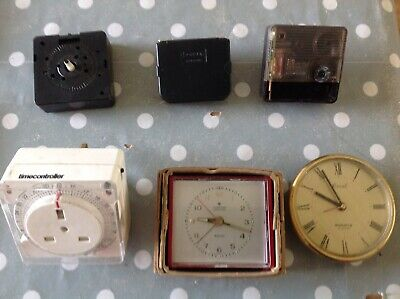 Vintage Clock Movements Battery Electric Clockmakers Parts Collection Untested