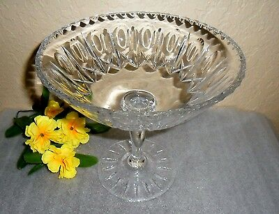 Mid Century Vintage Heavy Lead Crystal Pedestal Candy Serving Serving Bowl Dish