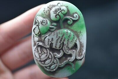 Chinese antique Jade hand carved Statue Amulet Pendants D749