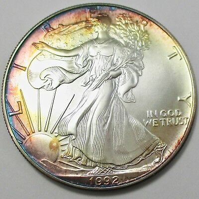 1992 American Silver Eagle 1oz. Coin. Beautiful Monster Toning