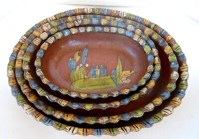 4 Vintage Hand-Painted Red Clay Mexican Folk Art Pottery Oval Bowls Dishes Nest
