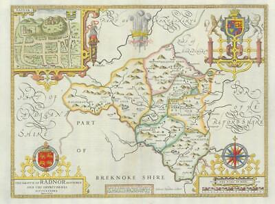 1673 ORIGINAL Antique Map - WALES RADNOR Radnorshire John Speed Bassett Chiswell