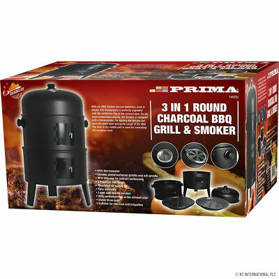 Round Smoker Bbq Charcoal Barbecue Grill Outdoor Garden Patio Cook Food Cooker