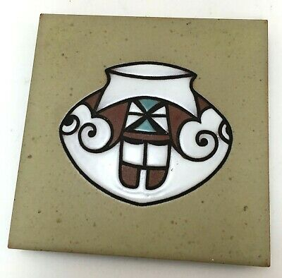 Cleo Teissedre Hand Painted Ceramic Tile Kiln Fired  Coaster Trivet Wall Decor