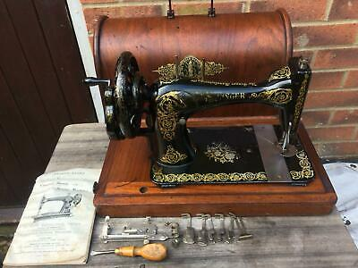 1894 Antique 28K Singer sewing machine with storage Case & Instruction Manual,