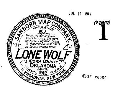 Lone Wolf, Oklahoma~Sanborn Map© sheets with 2 maps made in 1912
