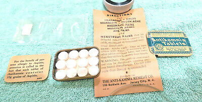 Vintage Antikamnia Tablets metal tin with product & paper inserts great graphics