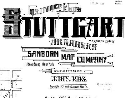 Stuttgart, Arkansas~Sanborn Map© sheets~45 maps on a CD~1892 to 1917