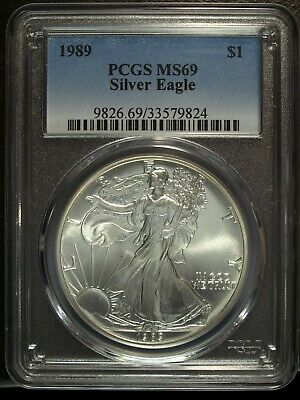 1989 PCGS MS 69 American Silver Eagle 1 Ounce Silver Eagle ☆☆ Great For Sets 824
