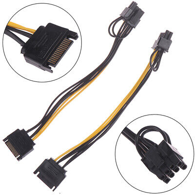 2pcs 15pin SATA Cable Male to 8pin(6+2) PCI-E Power Cable 20cm for Graphic Ca TW