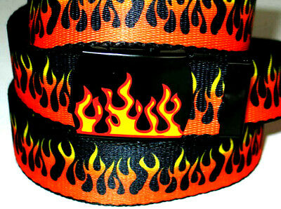 """Canvas Nylon FLAME Military Style WEB Fabric Belt FLAME Metal Buckle 45"""" x 1 1/4"""